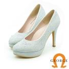 GEORGE-婚鞋系列-閃耀布面水鑽勾邊高跟鞋