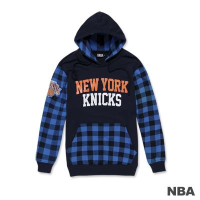 NBA-紐約尼克隊棋盤格紋繡花連帽T恤-藍色(男)