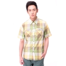 【hilltop山頂鳥】男款CoolTouch吸濕排汗短袖襯衫S06M58綠格紋