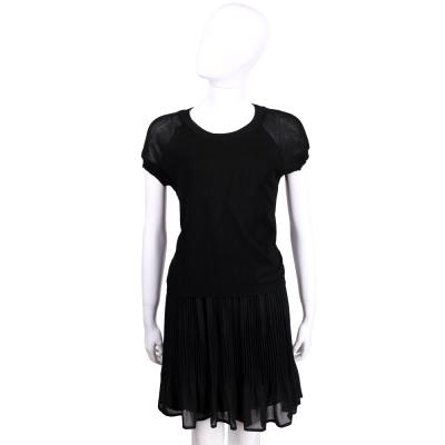 BLUGIRL 黑色拼接百褶短袖洋裝