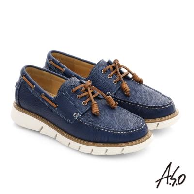 A.S.O 3D超動能 全牛皮手縫奈米都會休閒鞋 藍色