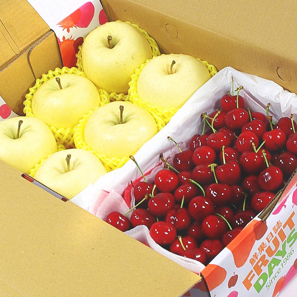 鮮果日誌 - 金蘋禮讚櫻桃禮盒(日本金星蘋果6入+櫻桃2.5台斤)