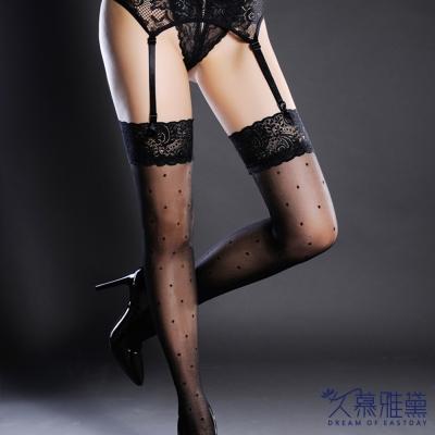 大腿襪-絲精緻性感蕾絲小圓點黑-久慕雅黛