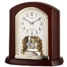 RHYTHM 日本麗聲 實木 電波鐘 座鐘 桌鐘(4RY702SR06)咖啡25X24cm