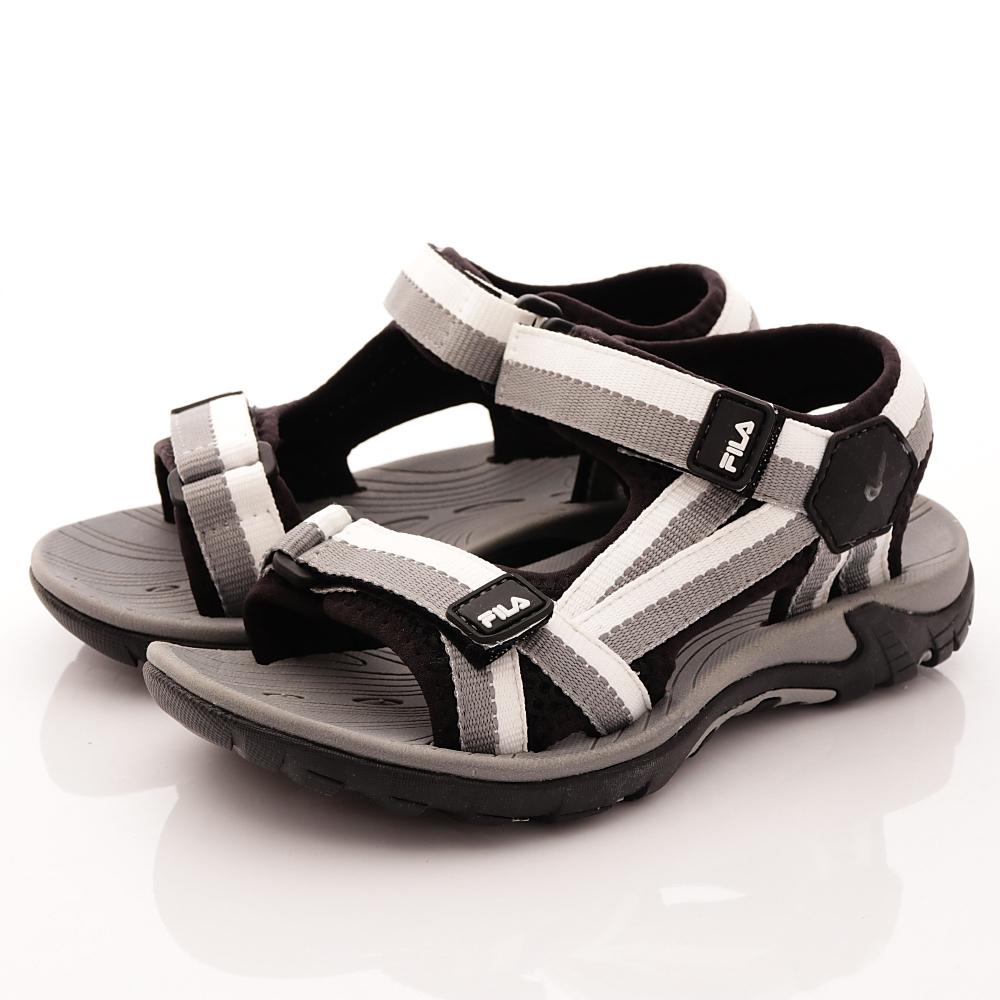 FILA頂級童鞋款-織帶運動涼鞋款-R401黑灰中大童段HN