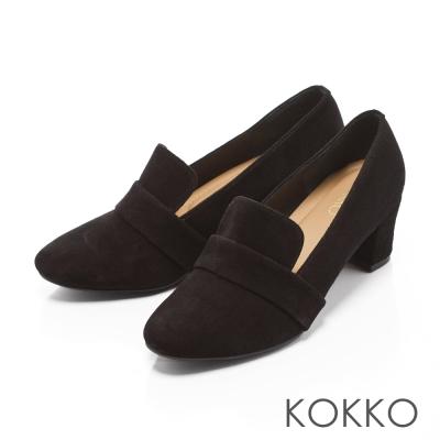 KOKKO-時髦女紳粗跟真皮樂福鞋-麂皮黑