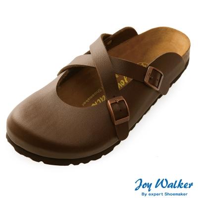 Joy Walker 經典交叉包頭拖鞋*深咖啡