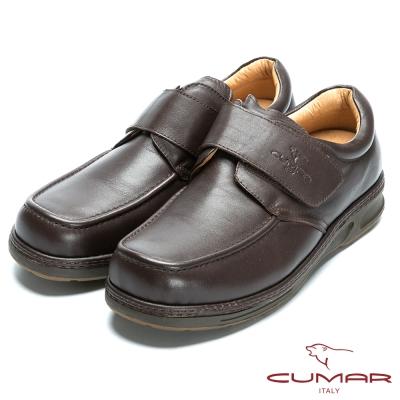 CUMAR 專利舒適氣墊‧魔鬼氈百搭皮鞋-咖啡色