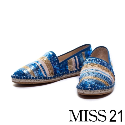 休閒鞋 MISS 21 五彩繽紛閃耀亮片草編鞋-藍