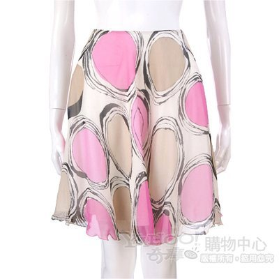 BLUGIRL 桃粉/卡其色圓點紗質及膝裙