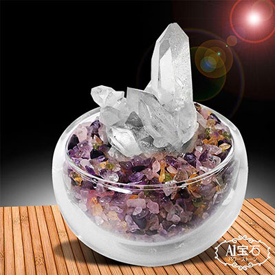 A1寶石-買一送一招財轉運白水晶簇-五行水晶聚寶盆-贈五字箴言招財手鍊(隨機出含開光加持)