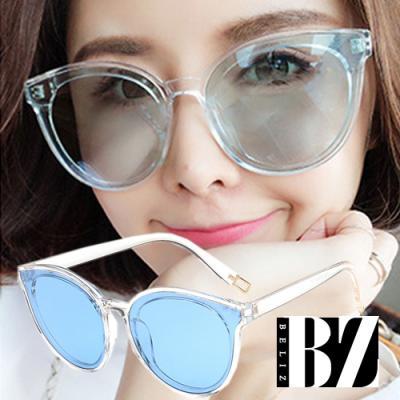 BeLiz 透視眼神 微貓眼膠框墨鏡 透明藍