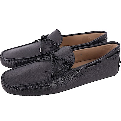 TOD'S Gommino 壓紋牛皮編織綁帶休閒豆豆鞋(男鞋/藍黑色)