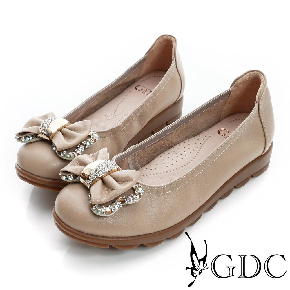 GDC百搭-蝴蝶結水鑽飾扣真皮厚底娃娃鞋-可可色