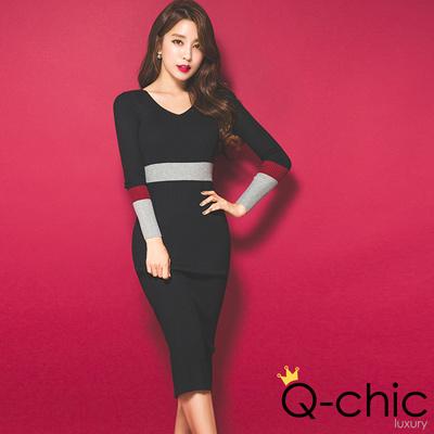 歐美顯腰身色塊針織洋裝 (黑色)-Q-chic