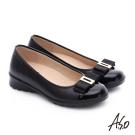 A.S.O 挺麗氣墊 鏡面牛皮蝴蝶結飾奈米氣墊鞋 黑