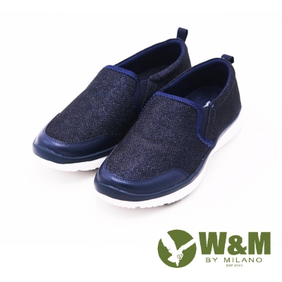 W&M MODARE系列 拼色異材質直套式休閒鞋 女鞋-藍