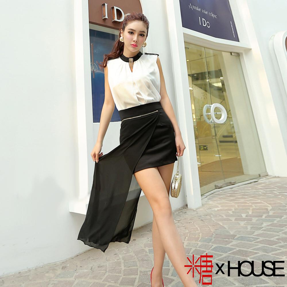 流蘇肩章背心短裙拼雪紡套裝 (白+黑)-糖 x House