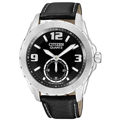 CITIZEN 魅力小秒針都會腕錶(AO3010-05E)-黑/41mm