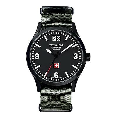 阿爾卑斯 S.A.M-獨家限定-空戰系列-黑錶殼/黑錶盤/軍綠NATO帶/43mm