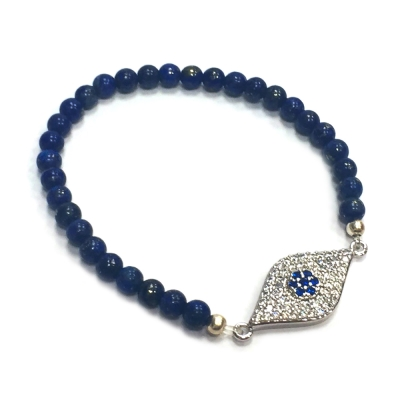 One of a kind 寶藍色玉石 全鑽式設計 大版銀色智慧之眼 EYE 彈性伸縮手鍊