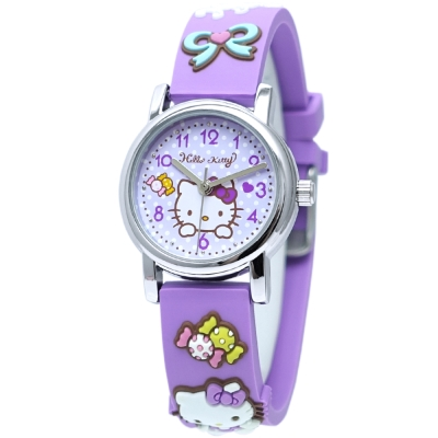 HELLO KITTY 凱蒂貓甜美可愛立體造型手錶-紫/27mm