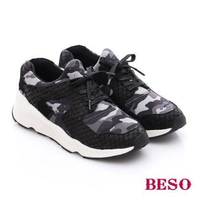 BESO 潮人街頭風 迷彩花紋拼接綁帶休閒鞋 灰色