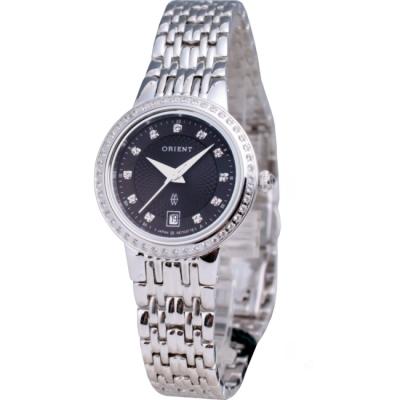 ORIENT 東方白K金系列波紋晶鑽腕錶-黑/27mm