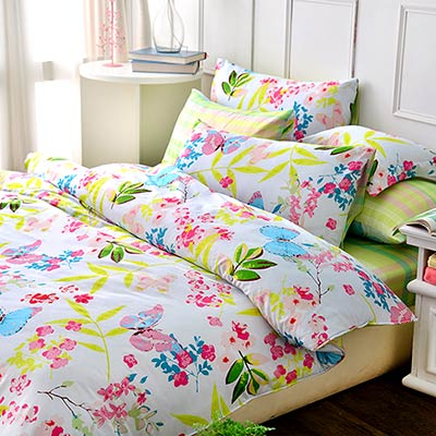 Grace Life 清新花園 精梳純棉加大涼被床包四件組