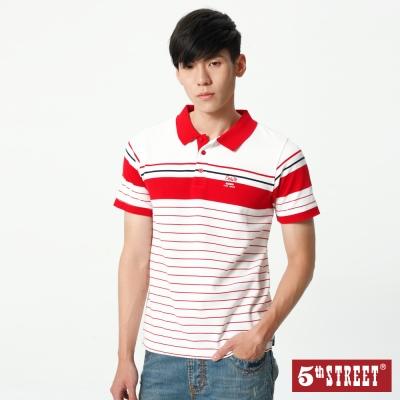 5th STREET 撞色涼感條紋POLO衫-男-紅色