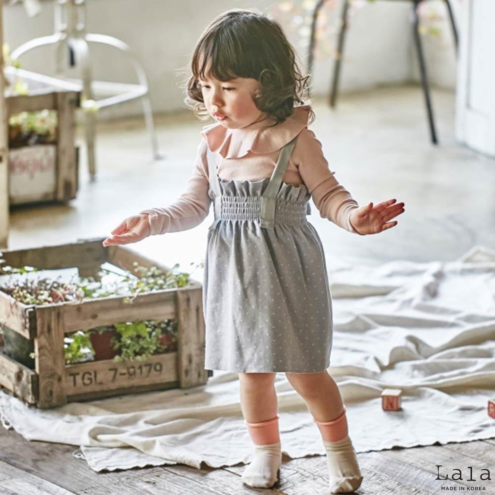 Lala韓國 灰色鬆緊小點點吊帶裙