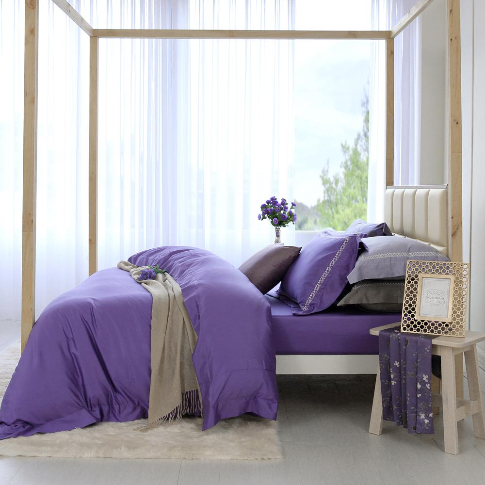 HOYAH Series幻想紫 特大四件式500織刺繡匹馬棉被套床包組 配加大被套 贈冬被