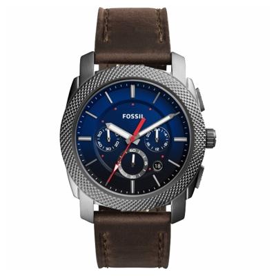 FOSSIL Machine Gunmetal 重裝計時手錶-藍x咖啡/45mm