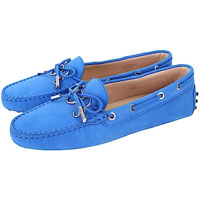 TOD'S Gommino 新版字母磨砂牛皮休閒豆豆鞋(女鞋/亮藍色)
