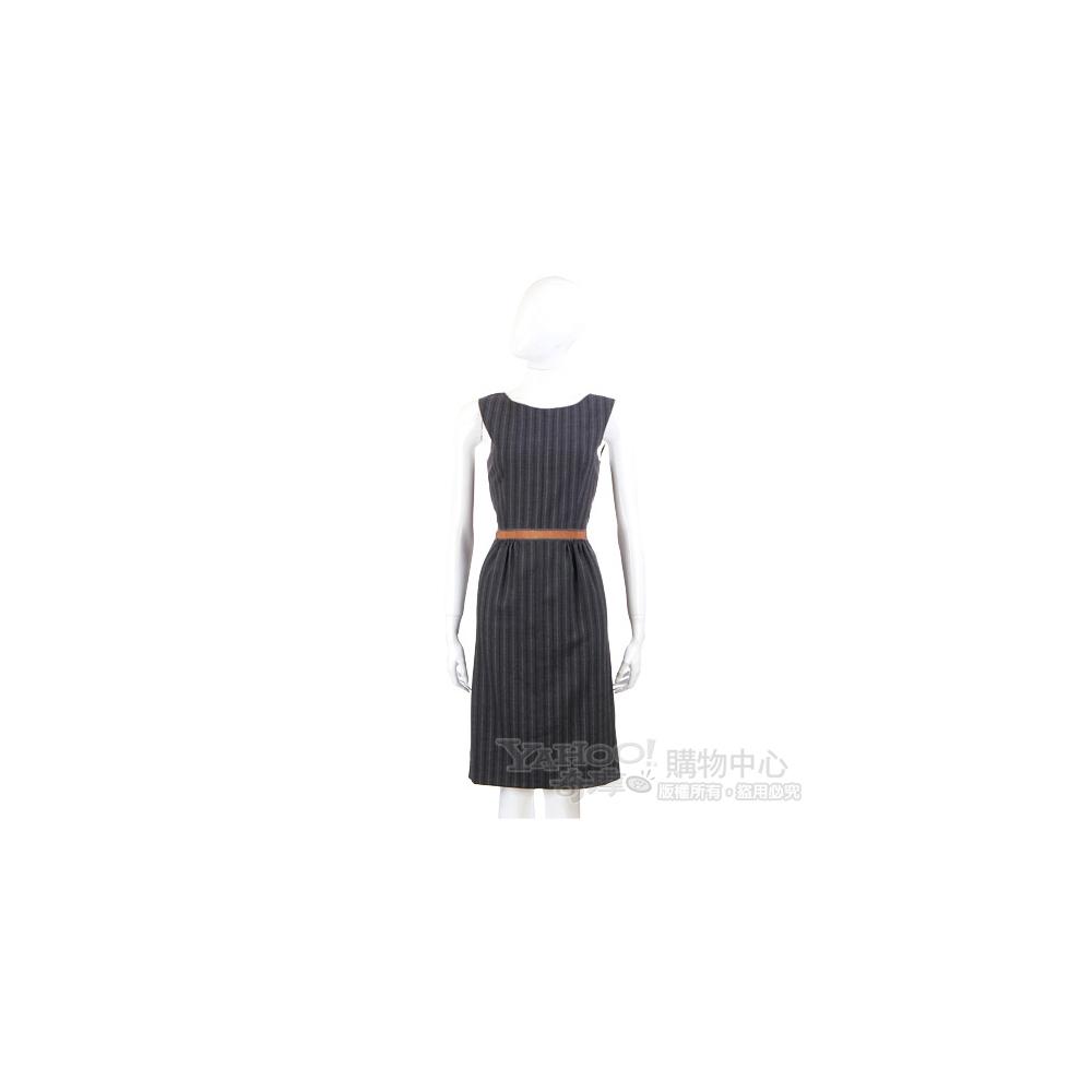 VALENTINO 灰色條紋荷葉造型無袖洋裝