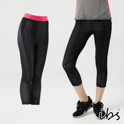 ibs超彈力塑型幾何科技轉印吸排七分褲-女-黑
