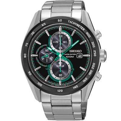 SEIKO Criteria太陽能三眼計時腕錶(SSC413P1)-黑X綠時標/43mm