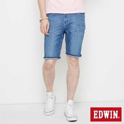 EDWIN 迦績褲JERSEYS剪接工作短褲-男-石洗藍