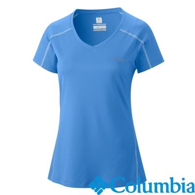 【Columbia哥倫比亞】酷涼防曬30快排短袖-女-藍(UAL69140BL)