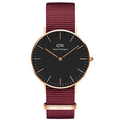DW DanielWellington 經典風尚手錶-黑X玫瑰金X紅帶/40mm