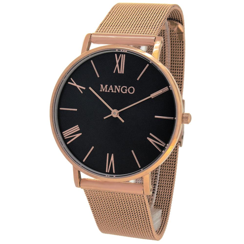 MANGO 絃樂獨奏時尚米蘭手錶(MA6715L-55R)-黑x玫瑰金/37mm