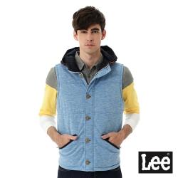 Lee 鋪棉無袖外套 牛仔拼接連帽 -男款-藍色