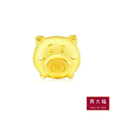 周大福 TSUM TSUM系列 豬排博士黃金耳環(單支)