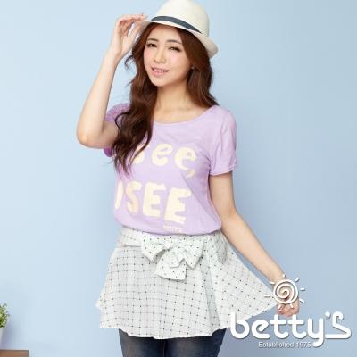 betty's貝蒂思 格紋綁帶塗鴉假兩件上衣(淺紫色)