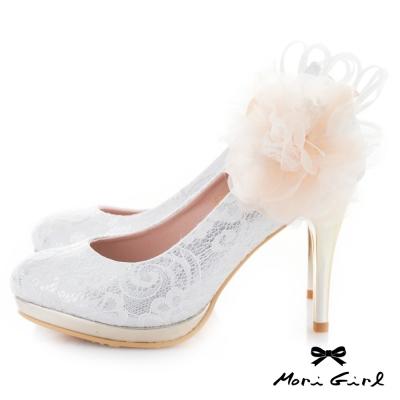 Mori girl 2way可拆紗緞花飾蕾絲高跟婚鞋 白