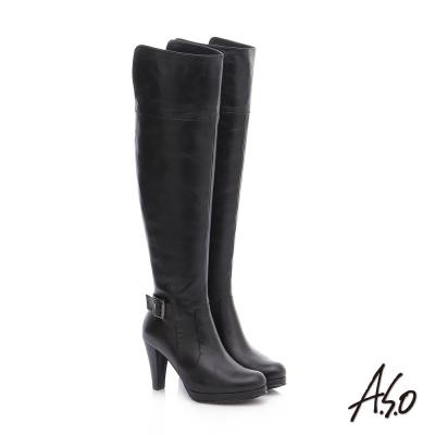 A.S.O 保暖靴  真皮雙色感釦飾拉鍊長靴 黑色