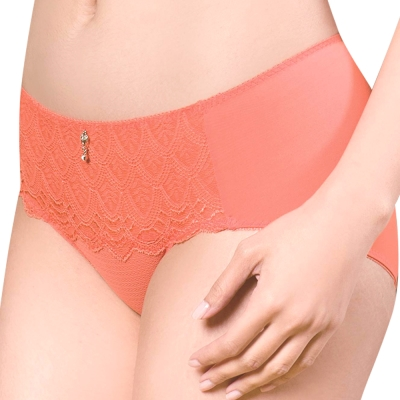 思薇爾 撩波系列M-XXL蕾絲中腰三角內褲(蜜誘橘)