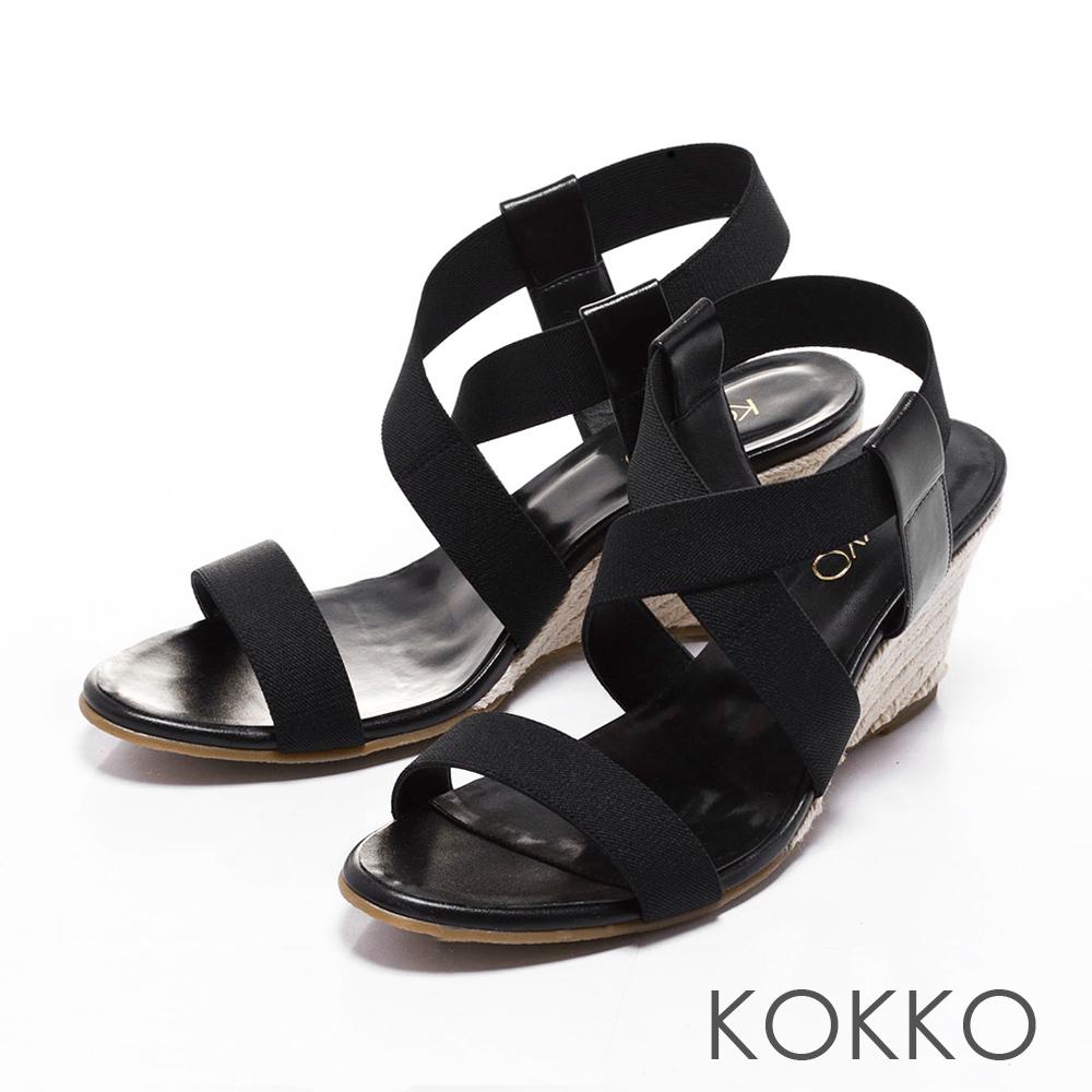 KOKKO日本同步百搭羅馬麻繩楔型涼鞋純黑