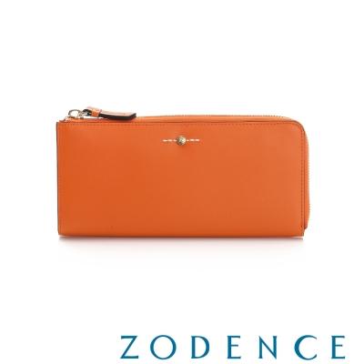 ZODENCE-Flip系列雙面牛皮輕薄單拉鍊長夾-橘