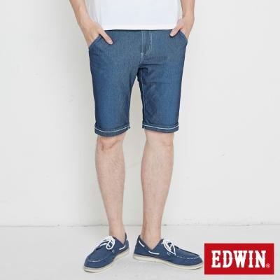 EDWIN 迦績褲 涼爽PK牛仔短褲-男-石洗綠